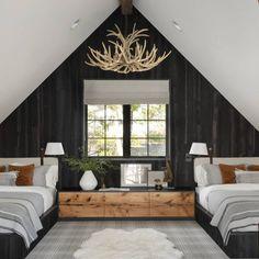 Modern Cabin Interior, Cabin Interior Design, Modern Lodge, Modern Lake House, Cabin Design, Modern Cabin Decor, Mountain Modern, Chalet Interior, Modern Rustic Bedrooms