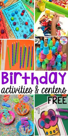 Birthday theme activities and centers preschool, pre-k, and kinder students will LOVE! FREE play dough mats too. #birthdaytheme #preschool #prek