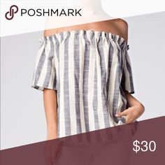 Stripe Chambray Top Get this super cute off the shoulder top in your closets!! Perfect paired with white or blue denim. Tops Blouses
