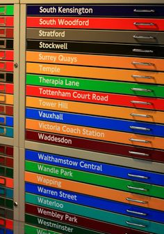 https://flic.kr/p/4tqYFA | Station Name Drawers | Not all of them are Tube stations and not all of them are the right colour. Blasphemy, I say! I Googled Therapia Lane and it's a tram depot in Croydon. Taken at the flickr mini meet on Sunday 17th February 2008.