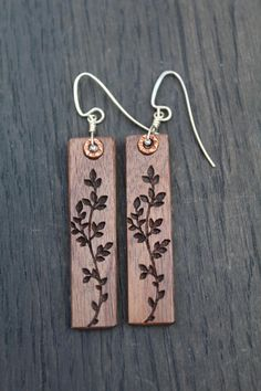 Sterling Silver Earrings Wood Dangle Earrings Black Walnut Flower Earrings Pendant Earrings Mother S Day Gift Sterling Silver Earrings Wood Dangle Earrings Black Walnut Etsy Wooden Earrings, Bar Earrings, Silver Drop Earrings, Wooden Jewelry, Pendant Earrings, Leather Earrings, Leather Jewelry, Sterling Silver Earrings, Handmade Jewelry