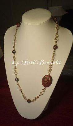 Wire wrapping, 18ga wire, jasper, goldstone, wite connectors, wire chain DIY wire jewelry by Beth Bianchi of Bead Rock #beadingbabesofdurham #bethbianchi #beadrock #beadclasses #takeaclass