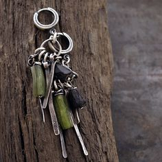 USE CODE - 15OFF • SALE 15% • raw black tourmaline and ancient glass  • raw silver stick • inspirational  gift for women • huggie hoops by ewalompe on Etsy https://www.etsy.com/ca/listing/587319396/use-code-15off-sale-15-raw-black