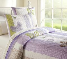 Pottery Barn Kids Camille Lavender Full Queen Quilt 2 Std Shams New Butterfly | eBay
