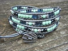 Beaded Leather Wrap Bracelet 4 Wrap with Mint Green Hematite and Smoky Blue Czech Glass Beads on Hematite Leather