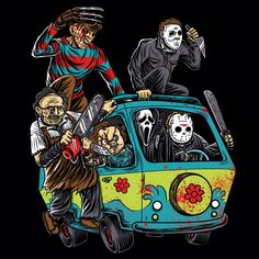 Horror T-Shirt by NibiruHybrid. The Massacre Machine shows horror icons like Freddy Krueger and Jason Voorhees on the Mystery Machine from Scooby Doo. Cartoon Kunst, Cartoon Art, Halloween Horror, Halloween Art, Halloween Decorations, Halloween Costumes, Christmas Decorations, Scooby Doo, Horror Movie Characters
