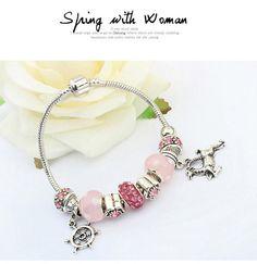 Screw Pink Beads Decorated Deer Shape Design Alloy Korean Fashion Bracelet  http://www.asujewelry.com