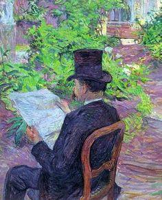 Desire Dihau Reading a Newspaper in the Garden, 1890  Henri de Toulouse-Lautrec