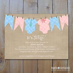 Twins Baby Shower Invitation / Baby Onesie Clothesline Baby Shower Printable Invitations. $15.00, via Etsy.