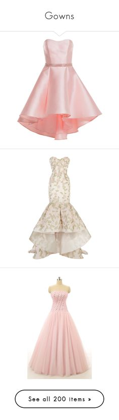 """""""Gowns"""" by kindergrrrl ❤ liked on Polyvore featuring dresses, gowns, blush pink, formal dresses, pink homecoming dresses, high low evening dresses, high low homecoming dresses, high low gown, pink and white evening gowns"""