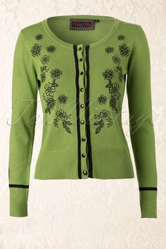 Vixen - Floral Cardigan in Vintage Green and Black.   ;)