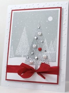 Silver Christmas tree using products from Hero Arts.