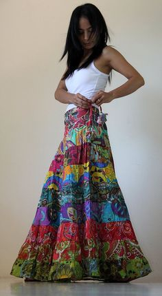 Long Patchwork Maxi skirt : Boho Patchwork Collection by Nuichan - The latest in Bohemian Fashion! These literally go viral!