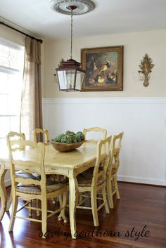 Savvy Southern Style: Breakfast Room Updates {Ballard's Lantern} - add medallion to lantern