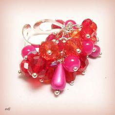 """Bague breloques de perles cristal """"flamboyance !!"""""""
