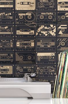 Mini Moderns   C-60 Wallpaper - Chalkboard and Gold