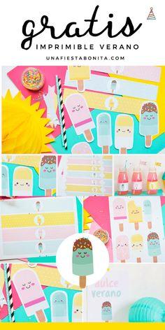 kit imprimible de fiesta helados gratis