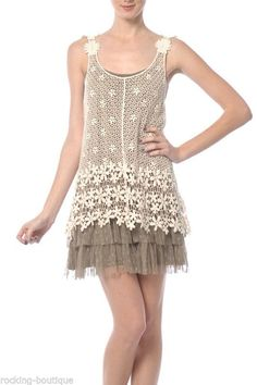 RYU Crochet Overlay Dress ModCloth Anthropologie Vintage Bohemian Chic Lace *S-L #RYU #OverlayDress #Casual