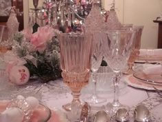 pink depression glass, pastel ornaments, pink mercury glass, pearls for holiday table