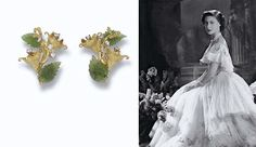 Princess Margaret's JADE AND DIAMOND FLOWER EARCLIPS, BY JOHN DONALD spray of Escallonia with diamond-set stamen and two carved nephrite leaves, 18 carat gold, 1977
