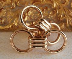 Vintage RETRO Cuff Links Gold Tone Double Circle ~ #Vintage #Cufflinks #Fashion #Style #Design by StarliteVintageGems, $26.00