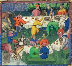 uczta na łowach, na świeżym powietrzu - Phoebus - 1407 r.