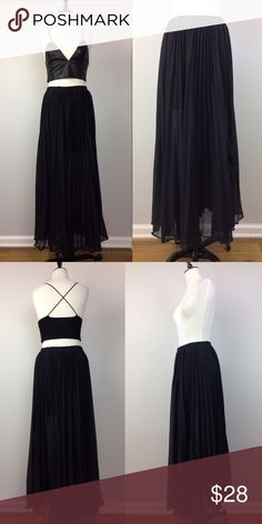 BCBGMAXAZRIA black pleated maxi skirt In good condition, pleated maxi skirt.  The upper part of the skirt is lined, the bottom is sheer. BCBGMAXAZRIA brand label has been removed. BCBGMaxAzria Skirts Maxi