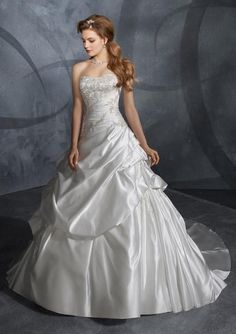 Mori Lee 2913 waterfall draping skirt with pick ups, Ivory Size 16, Sale $765