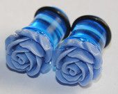 Blue Rose 00g (10mm) Acrylic Plugs, Ear Gauges, Women, Formal, Weddings, Stretched Ears, Pretty, Cute, Flower, Floral, Plugs for Girls