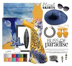 """Paradise Floral Skirt"" by jjanewatson ❤ liked on Polyvore featuring Parvez Taj, NOVICA, Americanflat, Rosantica, Jimmy Choo, Bottega Veneta and Lalique"