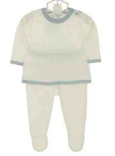 NEW Angel Dear Ivory Soft Cotton Cable Knit Sweater and Footed Pants Set with Blue Trim $50.00