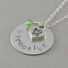 Big Sister Necklace sis gifts Hand Stamped by SixSistersBeadworks, $48.00