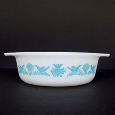 Vintage Pyrex Bluebird Promotional Oval Casserole Dish #043 (1.5 quart) Turquoise on White 1950s