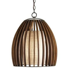 Gracefully curved wood slats in Polished Fruitwood form the eggshell shape of this one light pendant. Wrought iron components are finished in Old Iron and the coarse linen shade is Putty Gunny.