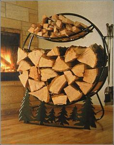Oh how I LOVE this firewood holder! I must have! I always have a fire burning in my fireplace. (Like now.)