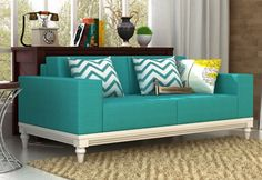 Shop Ayres 3 Seater Fabric Sofa Online in Electric Turquoise and create alluring ambience in your living space. The astonishing three seater sofa designs are fabulous. Buy 3 seater sofa online in Sofa Set Online, Three Seater Sofa, Fabric Sofa, Sofa Covers, Sofa Design, Jaipur, Living Room Furniture, Living Spaces, Interior Decorating