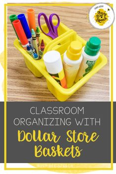 Speech therapy ideas for using dollar store baskets to organize your speech room.  Classroom organization doesn't have to be expensive.