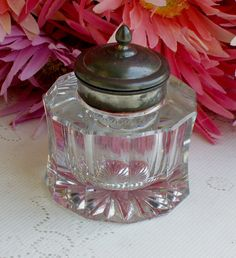 Beautiful Vintage Glass Inkwell- fun for India ink & quill work.