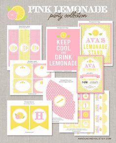 Printable Pink Lemonade Birthday Collection - DIY
