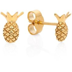 Lee Renee - Pineapple Stud Earrings ($80) ❤ liked on Polyvore featuring jewelry, earrings, pineapple earrings, pineapple stud earrings, pineapple jewelry and stud earrings