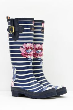 Joules Striped Floral printed Rain Boots