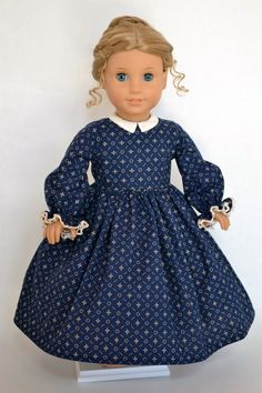 American Girl 18 Inch Doll Dress Historical Victorian Era Civil War Marie Grace Cecile - Navy and Cream Paisley