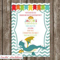 Dragons Love Tacos Birthday Party Invitation by CoastalInvitations