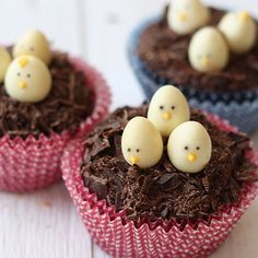 When you look at these sympathetic cupcakes you just wish that every day is Easter. Even though you're not a kid anymore these sweet chocolate cupcakes Easter Recipes, Holiday Recipes, Chocolate Easter Nests, White Chocolate Cupcakes, Baby Shower Sweets, Easter Cupcakes, Birthday Cupcakes, Baby Birthday, Easter Treats