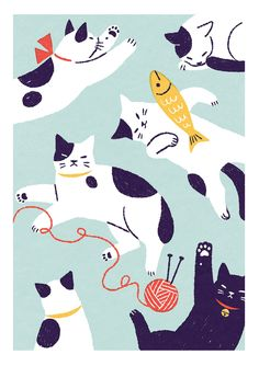 猫 Shino's illustration works I Love Cats, Crazy Cats, Cool Cats, Illustration Mignonne, Art And Illustration, Pattern Illustrations, Cat Drawing, Drawing Ideas, Cat Art