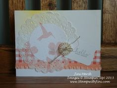 Here is a card I made with the Wildflower Meadow background. Love the little hummingbird and the new In Color Ribbon.