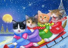 Kittens cats sled winter snow Christmas tree moon original aceo painting art #Realism