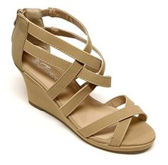Forever Tunas74 Womens platform wedge crossing straps upper rear zip closure sandals Taupe 75 * Learn more by visiting the image link.