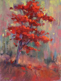 Autumn Color Red Trees Landscape 8x10 pastel painting by Karen Margulis