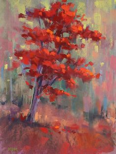Autumn Color Red Trees Landscape 8x10  pastel painting by Karen Margulis